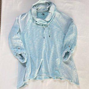 Calvin Klein Cowl Neck Sweater Top Teal 3/4